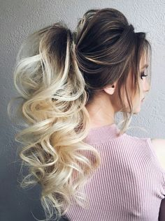 Fantastic Brunette to Blonde Pony Hairstyles 2019 for Prom - hair_styleideas_pinterey Pony Hairstyles, Latest Hairstyles, Wedding Hairstyles, Ponytail Hairstyles For Prom, Pretty Hairstyles, Teenage Hairstyles, Blonde Pony, Brunette To Blonde, Brunette Highlights