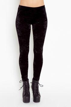 Crushed Velvet Leggings - Black