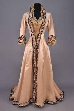 Tea Gown (image 1) | 1880 | trained silk, net, lace | Whitaker Auction House…