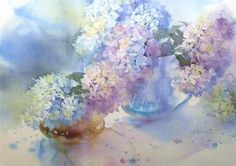 Watercolour Painting, Watercolor Flowers, Watercolours, Painting Gallery, Hydrangea Flower, Bird Drawings, Perfume, Painting Inspiration, Flower Art