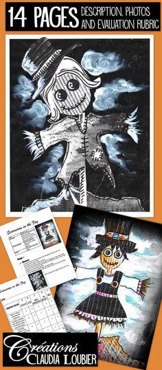 Autumn Art Project : Scarecrow in the Fog Halloween Art Projects, Theme Halloween, Clay Art Projects, Animal Art Projects, Classroom Art Projects, School Art Projects, Art Classroom, Halloween Ideas, Art Plastique Halloween
