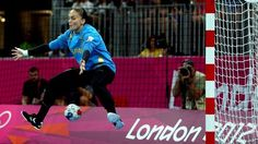 Silvia Navarro Jimenez of Spain tends goal against the Republic of Korea during the women's Handball match on Day Related tags Women's Handball, Latest Sports News, London Photos, The Republic, Olympic Games, Olympics, Athlete, Goal, Spain