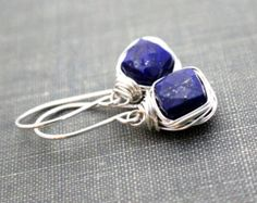 Lapis Lazuli Drop Earrings, Bezel Wire Wrapped in Sterling Silver or 14k Gold FIlled Black Friday