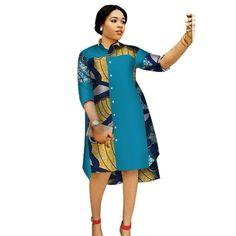 African women three-quarter sleeve knee length dress – – My World African Fashion Ankara, Latest African Fashion Dresses, African Print Fashion, Africa Fashion, African Prints, African Style, African Fabric, African Shirt Dress, Short African Dresses