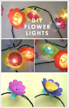 love these DIY flower lights for my next party. Could make these for leis for girl scouts!