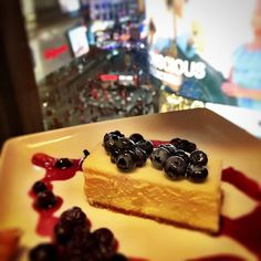 Blueberry Cheesecake with a view 😍 Blueberry Cheesecake, Breakfast, Sweet, Desserts, Instagram, Food, Baking Soda, Baked Blueberry Cheesecake, Morning Coffee
