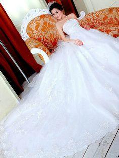 $299.00 Ball Gown Tube Top Chapel Train Lace Sequin Wedding Dresses  #Cheap #wedding #dresses #