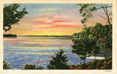 Vintage postcard of a sunset on scenic Lake Catawba in North Carolina, postmarked 1945. On sale for $5 from Vintage Postcard Boutique.