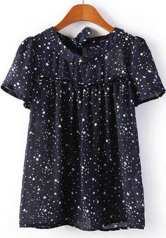 Navy Blue Star Short Sleeve Wrap Cotton Blouse