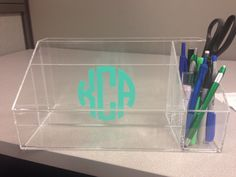 Modern Acrylic Clear Personalized Monogram Office by TheOfficeChic Pens And Pencils, Desktop Organization, Office Accessories, File Folder, Monogram, Teacher, Craft, Modern, Room