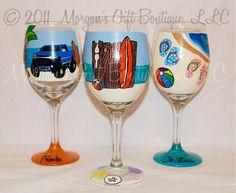 Custom Beach Hand Painted Wine Glass