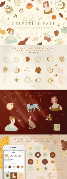 Celestial Fall Graphic Set by NassyArt on @creativemarket