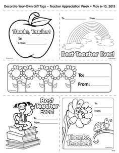 Here's a free printable of Lakeshore's Decorate-Your-Own Gift Tags for Teacher Appreciation Week!