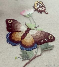 Wonderful Ribbon Embroidery Flowers by Hand Ideas. Enchanting Ribbon Embroidery Flowers by Hand Ideas. Flower Embroidery Designs, Butterfly Embroidery, Creative Embroidery, Learn Embroidery, Crewel Embroidery, Silk Ribbon Embroidery, Cross Stitch Embroidery, Embroidery Patterns, Embroidered Butterflies