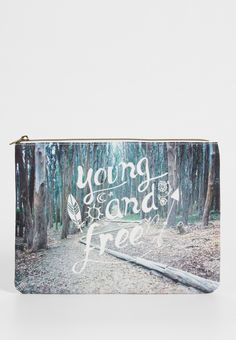 zipper pouch with young and free graphic