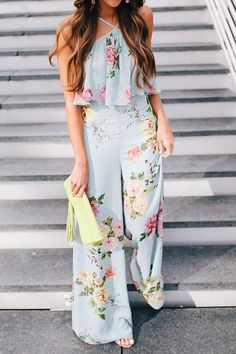 30dc12ad9e98 Blue Floral Holiday Halter Printed Jumpsuit