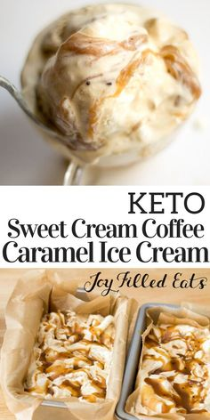 Sweet cream & dark coffee ice creams with a coffee caramel sauce. This irresistible Sweet Cream Coffee Caramel Ice Cream is low carb, sugar free, THM S. Low Carb Keto, Low Carb Recipes, Cooking Recipes, Cooking Tips, Healthy Recipes, Easy Ice Cream Recipe, Cream Recipes, Keto Eis, Low Carb Ice Cream
