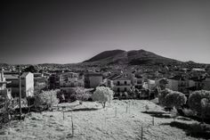 Athens, Europe, black, buildings, capital, city, day, grass, infrared, mountain, sky, street photography, trees, white, landscape