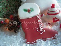 dulce y algo salado-cursos de galletas decoradas: Galletas navideñas en rojo-verde.