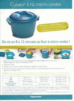 FICHE RECETTE CUISEUR A RIZ0001 Tupperware Pressure Cooker, Tupperware Recipes, Steamer Recipes, Easy Cooking, Food And Drink, Voici, Chartreuse, Chorizo, Ainsi