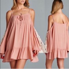 The TIFFANIE bell sleeve lace tunic dress- PINK Solid tunic ️ DRESS featuring an open shoulder design with lace patch on wide bell sleeves. Adjustable straps & self-tie neckline. ‼️️NO ️TRADE, PRICE FIRM‼️ Bellanblue Tops Blouses