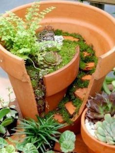 Funny pictures about Broken Pots Turned Into Beautiful Fairy Gardens. Oh, and cool pics about Broken Pots Turned Into Beautiful Fairy Gardens. Also, Broken Pots Turned Into Beautiful Fairy Gardens photos. Pot Jardin, Dream Garden, Garden Projects, Garden Pots, Garden Steps, Gnome Garden, Fairies Garden, Garden Whimsy, Garden Benches