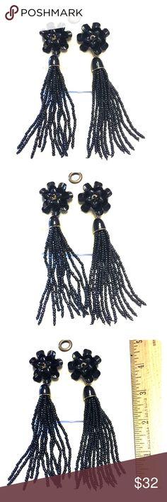 Anthopologie Flower Tasseled Earrings in Raven Store overstock; New with tags; Anthopologie Flower Tasseled Earrings in Raven Anthropologie Jewelry Earrings