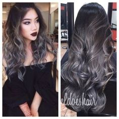 So kinda want to do this to my hair..grey ombré ? Maybe not have it so much grey but defiantly something similar . Want to get opinions specially from my hairstylist friends, think I can pull it off? #greyombre #greyhair #hairsuggestions #hairstyles #ombre #timetochange #longhairstyles #opinionsneeded