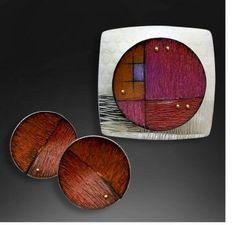 Deb Karash works in the surprising combination of metal and colored pencil to create her jewelry, as seen on The Polymer Arts blog, www.ThePolymerArts.com.