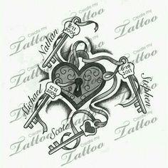 Key and locket tattoo for my kids