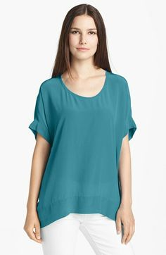 Eileen Fisher Scoop Neck Silk Crêpe de Chine Top available at #Nordstrom