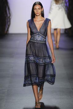 Tadashi Shoji   Spring 2016 Ready-to-Wear   25 Blue sleeveless midi dress with floral embroidery