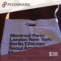 AA tote!! Ever popular CITIES design!💙🎉💕 New tagged super spacious!!! 2 way wear, super durable bull denim $42 retail. AmAZing bag!!! American Apparel Bags Totes