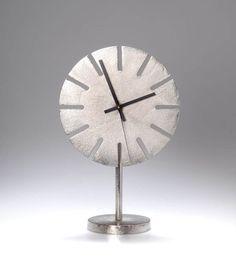 Carl Auböck; Stainless Steel and Enameled Metal Table Clock, 1969.