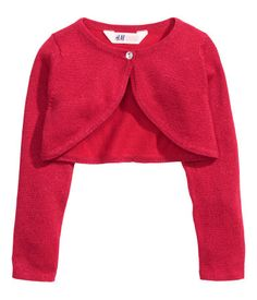 Knit bolero jacket in a glittery cotton blend with long sleeves and a button at front.