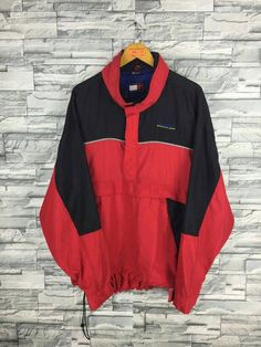 717a7a1fdcb8db TOMMY HILFIGER Jacket XLarge Vintage Tommy Hoodie Hip Hop Tommy Colorblock  Windbreaker Trainer Hoodie Black Red Jacket Parka Size XL