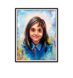 "Custom Portrait - Oil Canvas - Child Portrait Family Portrait Wedding Portrait - Pop Art Portrait Painting Palette Knife - 27 x 20"" by ArtSunday on Etsy"