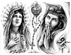 Sacred Heart and Virgin Mary Tattoo Design