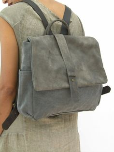 High Quality Mens Womens Gray Canvas Backpack Rucksack Schoolbag  LAPTOP Backpack Hadmade Leather Bag