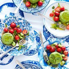 Rezept: Erdbeer-Gurken-Salat mit Erbsenflan
