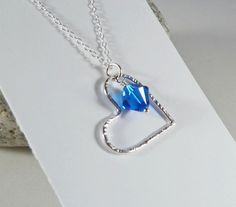 Silver Heart Pendant  Swarovski Crystal by BeauBellaJewellery #Swarovski #necklace #valentinesgift