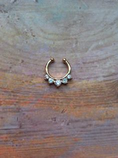Gold Fake septum faux septum hanger non piercing by lotusfairy
