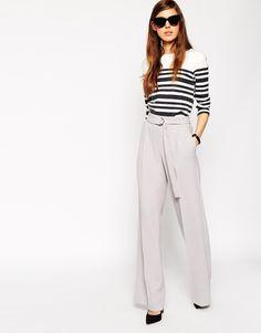 Immagine 1 di ASOS - Pantaloni con fondo ampio e anello a D