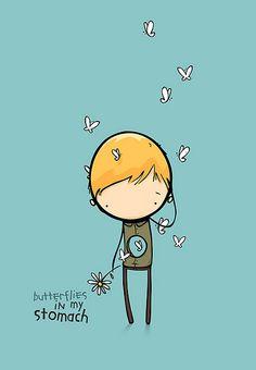 Butterflies in my stomach illustration 3d Character, Character Design, Kawaii, Butterflies In My Stomach, Doodles, Cute Images, Pics Art, Children's Book Illustration, Cute Art
