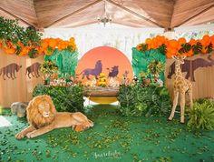 Fiesta temática El Rey León Jungle Theme Birthday, Baby Boy 1st Birthday Party, Jungle Party, Birthday Party Themes, Lion King Party, Lion King Birthday, First Birthday Cards, Lion King Baby Shower, Lion King Cakes