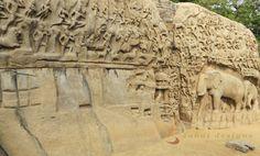 Arjuna's Penance bas-relief stone carving, Mahabalipuram.