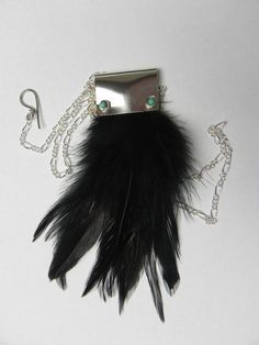 feather beadwork necklace, black feather statement necklace, feather jewelry.