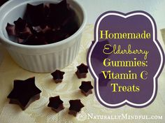 Homemade Elderberry Gummies: Vitamin C Treats Recipe cup unsweetened elderberry juice (find dry elderberries here and see recipe elderberry syrup below) 2 tbs orange juice 3 tbs raw honey (find it here) 3 tbs grass-fed gelatin (like this one) Elderberry Gummies, Elderberry Recipes, Elderberry Syrup, Elderberry Fruit, Vitamin C Gummies, Grass Fed Gelatin, Gelatin Recipes, Galette, Real Food Recipes