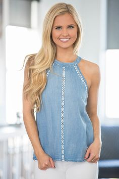 Denim tops are such a classic look for summer - and this tank has some of the sweetest accents to make this a perfect fit for your wardrobe! The beautiful medium wash denim pairs beautifully with whit Reese Clothing, Spring Fashion, Women's Fashion, Spring Tops, Pink Lily, Denim Top, Casual Jeans, Jeans Dress, Play Dress