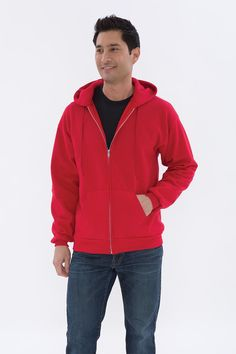 Don't break the bank! This ATC Everyday Fleece Full Zip Hooded Sweatshirt is and made with a comfortable cotton/polyester fleece. It's got compacted yarns to minimize shrinkage, and a double lined hood with a drawstring. Sweatshirt Outfit, Red Hoodie, Mens College Fashion, T Shirt Company, Hooded Sweatshirts, Hoodies, Medium Long, Atc, Yarns